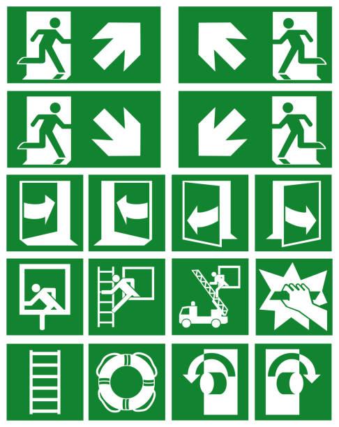 Sammlung von dabei (Fluchtwege) Rettungszeichen Nach ASR a1. (3) / ISO – Vektorgrafik