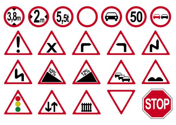 sammlung von deutschen verkehrszeichen. - straßenschilder stock-grafiken, -clipart, -cartoons und -symbole