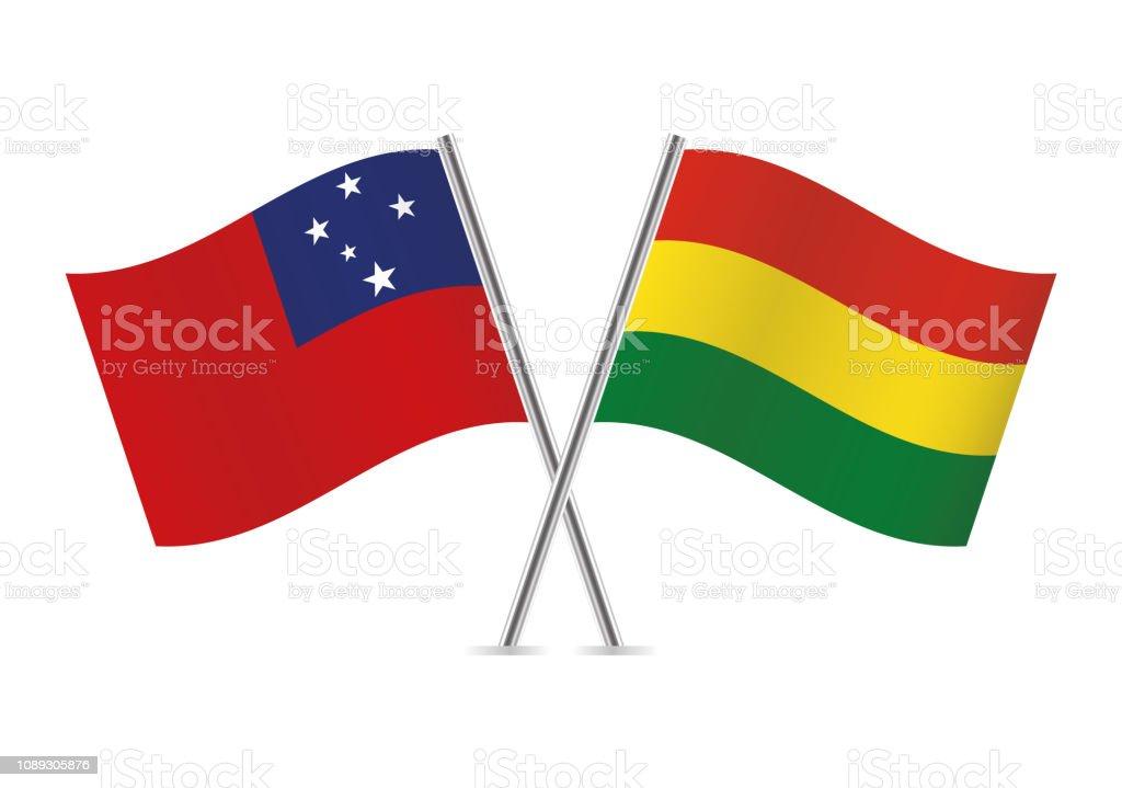 Banderas de Samoa y Bolivia. Ilustración de vector. - ilustración de arte vectorial