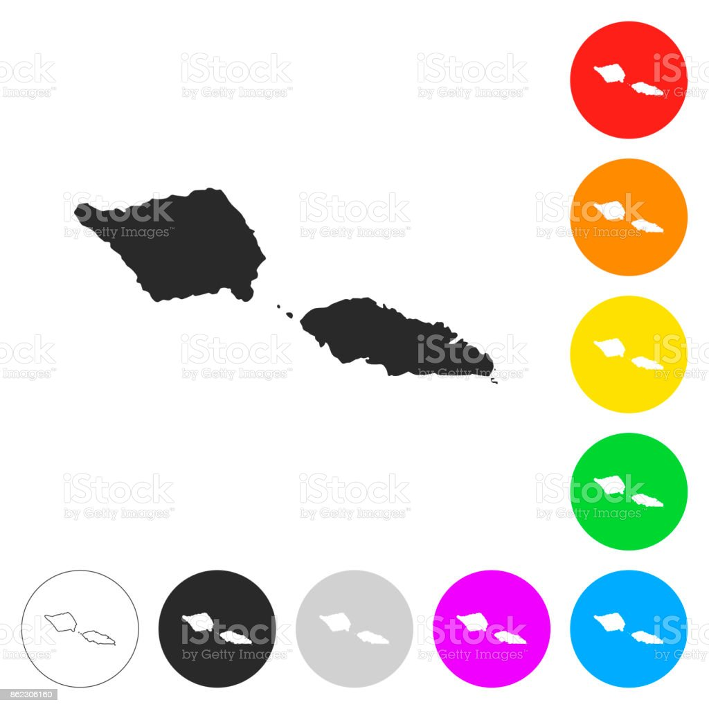 Samoa Map Flat Icons On Different Color Buttons Stock Vector Art - Samoa map vector