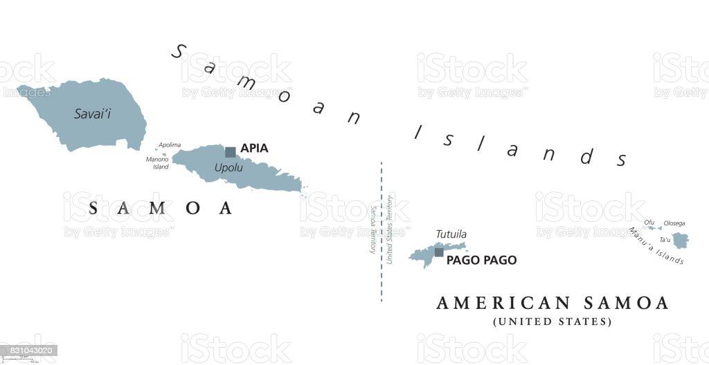 Samoan Islands Political Map Stock Illustration - Download Image Now on