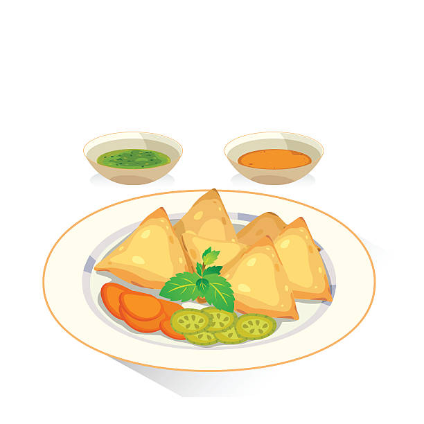 samosa - indian food stock illustrations, clip art, cartoons, & icons