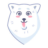 Samoyed puppy. Vector Stock Illustration isolated Emoji character cartoon dog embarrassed, shy and blushes sticker emoticon