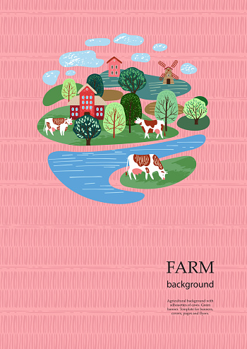 Sample brochure. Agricultural background. Cows in the pasture. Silhouettes of cows and trees.