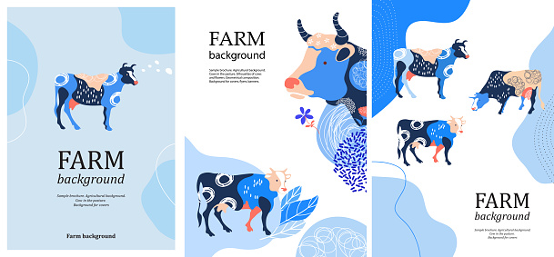 Sample brochure. Agricultural background. Silhouettes of cows and leaves.