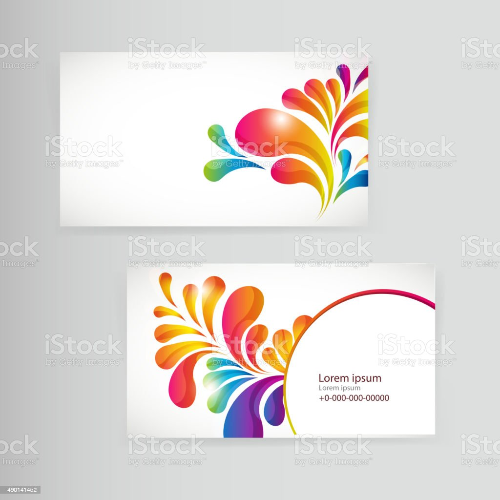 Sample Business Card With Bright Teardropshaped Arches Stock ...