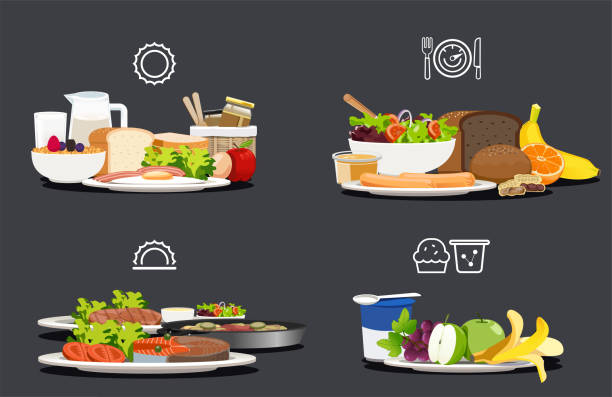 ilustrações de stock, clip art, desenhos animados e ícones de sample food at each meal. foods with health benefits. advise of a balanced diet. each type of food that the body should be in a day. - alimentação saudável