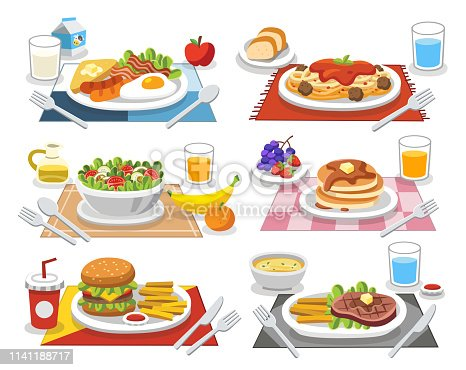 Sample food at each meal. Meals of people who should eat in a day. Ideas for creating a nutritional description for daily food.