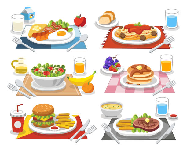 ilustrações de stock, clip art, desenhos animados e ícones de sample food at each meal. meals of people who should eat in a day. ideas for creating a nutritional description for daily food. - meat plate