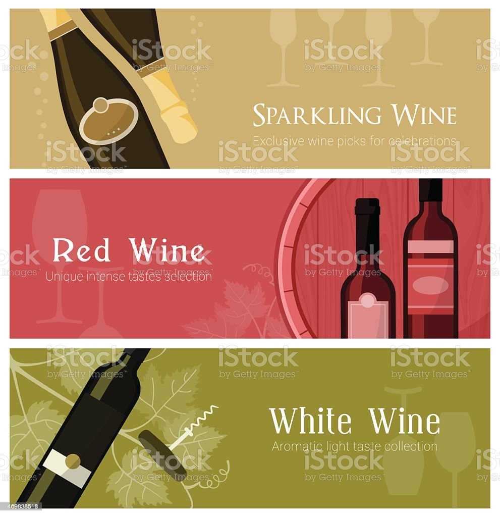 A sample layout of wine banner set vector art illustration