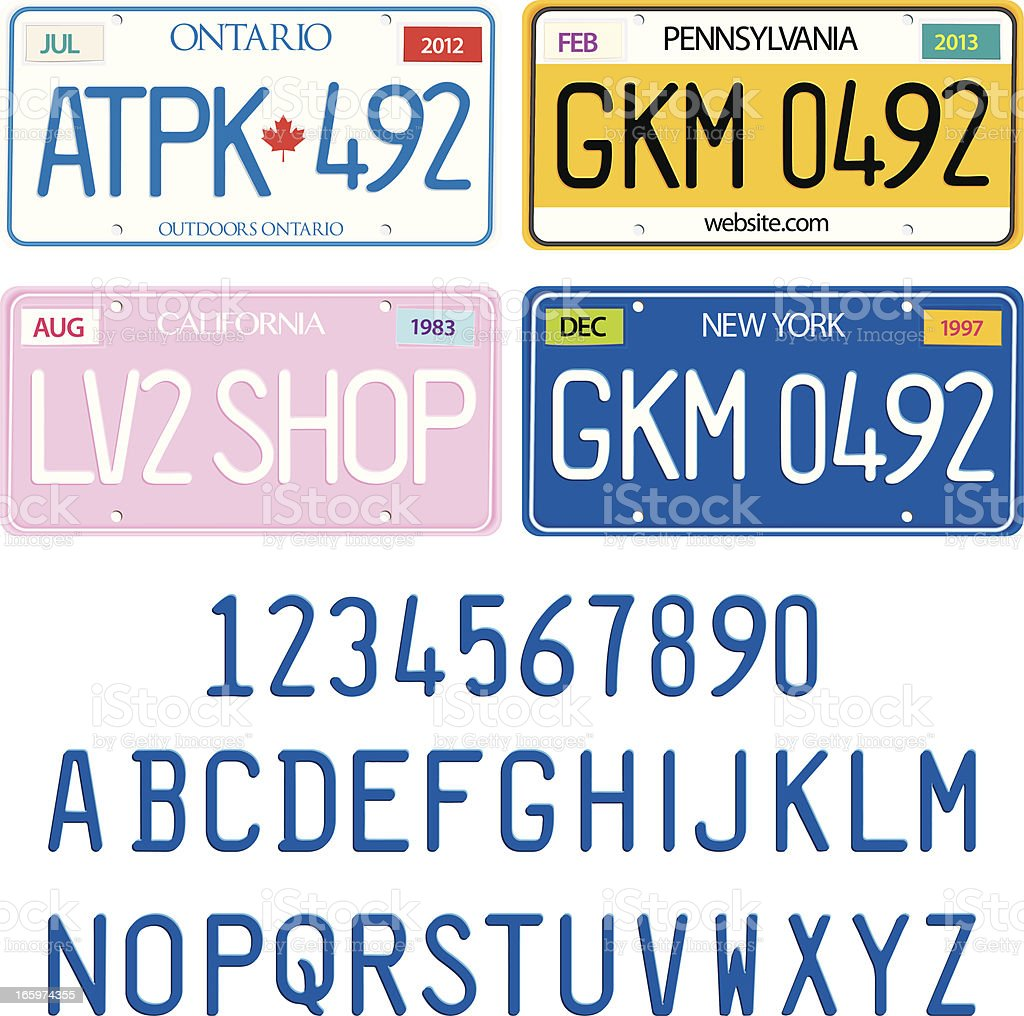 Sample License Plates with Alphabet and Numbers Vector Set royalty-free stock vector art