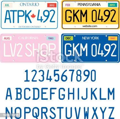 License Plate Alphabet  Vector Set