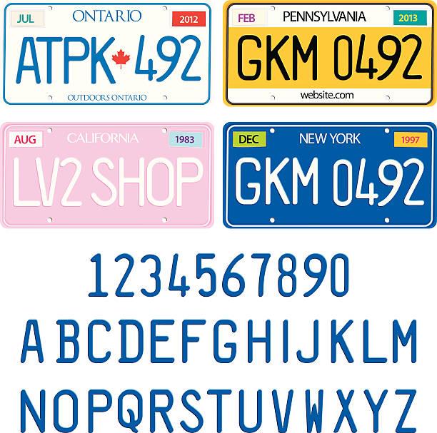 probieren sie die nummernschilder mit alphabet und zahlen, vektor-set - nummernschilder stock-grafiken, -clipart, -cartoons und -symbole