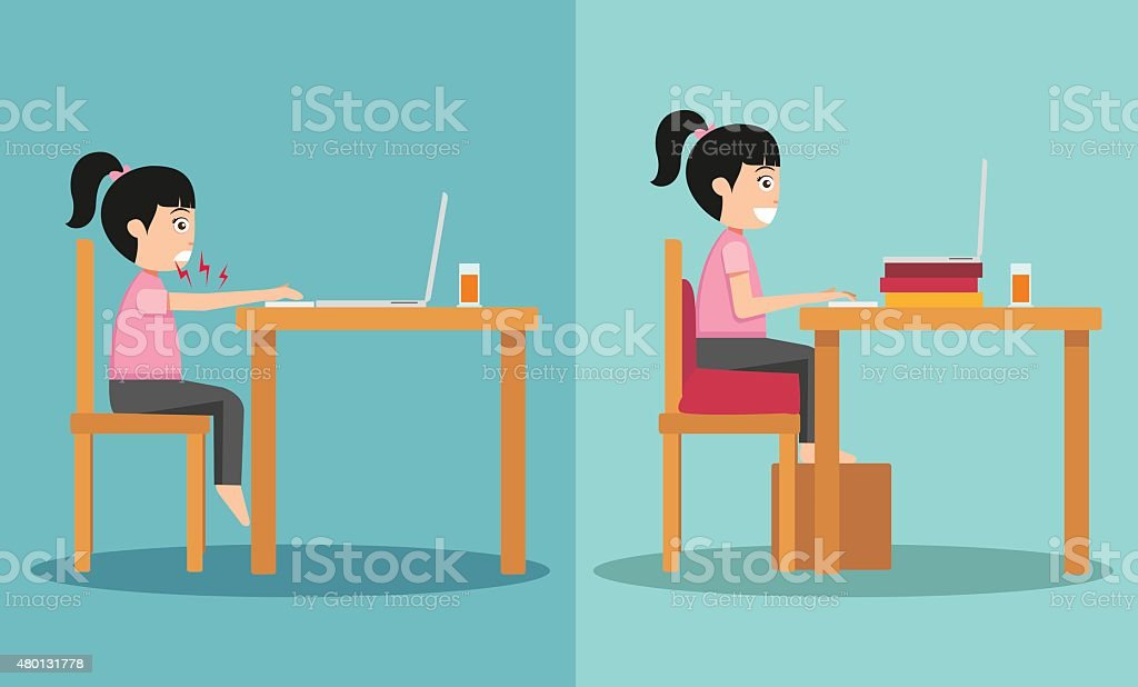 sample of the guy sitting in wrong and right ways vector art illustration