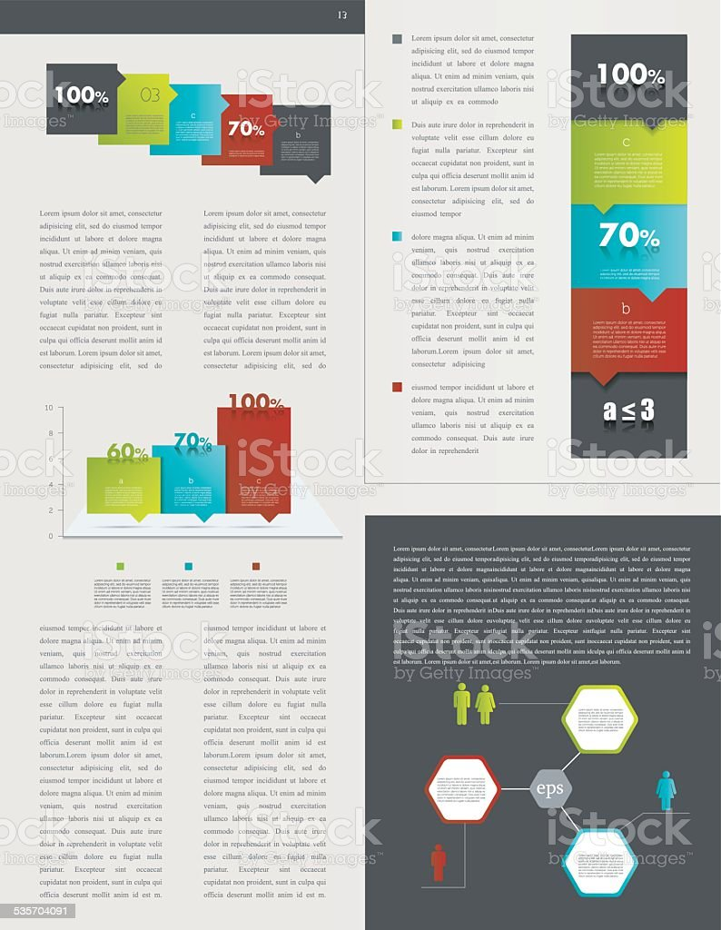 Sample page. Charts, graphs for info graphics. vector art illustration