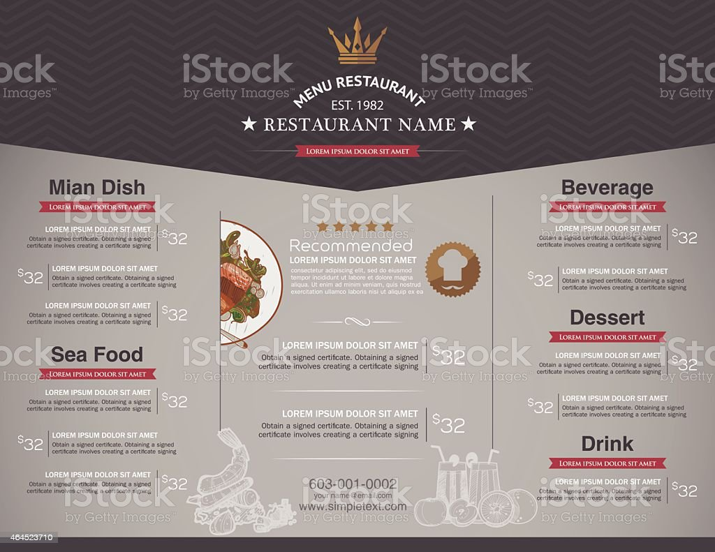 a sample restaurant menu template background stock vector art more