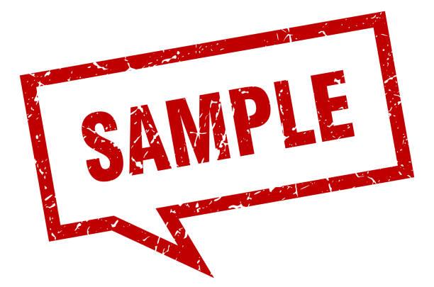 illustrazioni stock, clip art, cartoni animati e icone di tendenza di sample sign. sample square speech bubble. sample - campione scientifico