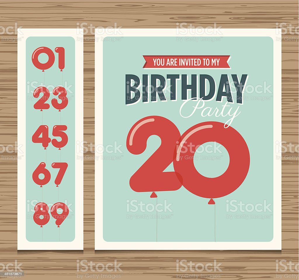 A sample template of a birthday party invitation card vector art illustration