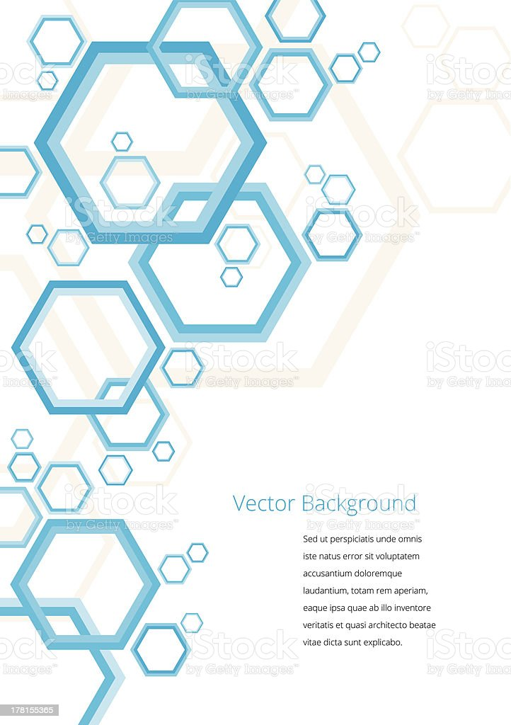 Sample template with blue multisized octagons royalty-free stock vector art
