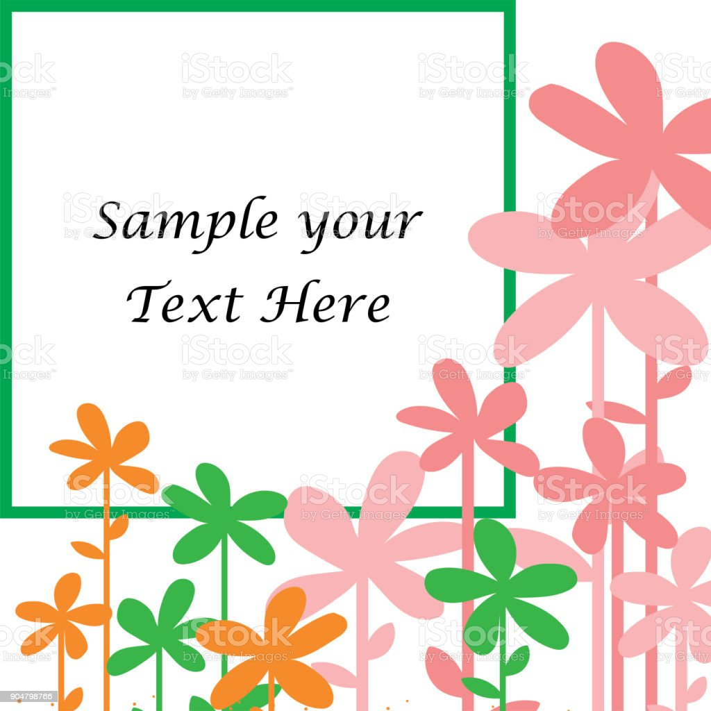 Sample Your Text Here Card With Colorful Flower In Frame Wallpaper Or Background Royalty