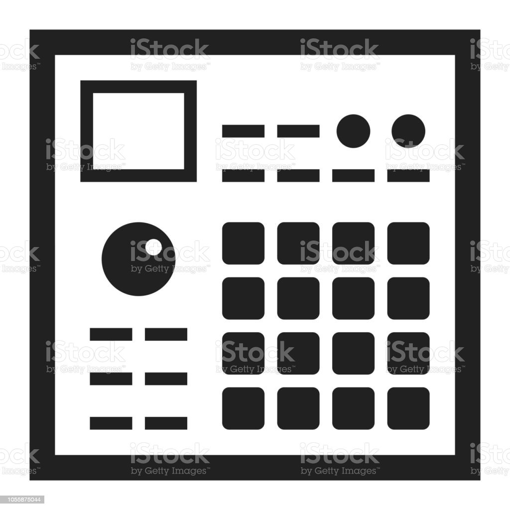sampler drum machine hiphop music beatmaking icon vector illustration stock vector art more. Black Bedroom Furniture Sets. Home Design Ideas