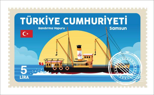 Samsun, Flag Ship Vector Samsun, Bandırma Vapuru 1910 1919 stock illustrations