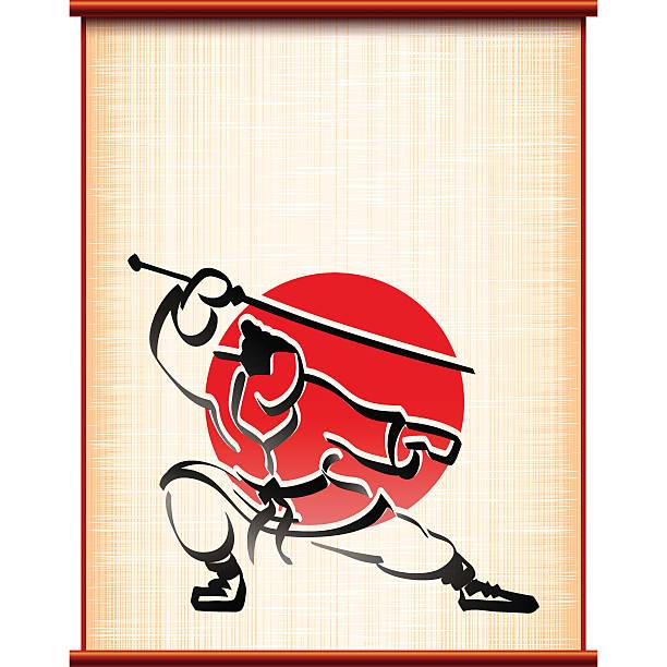 bildbanksillustrationer, clip art samt tecknat material och ikoner med samurai background parchment katana fighting stance ink silhouette - chinese military