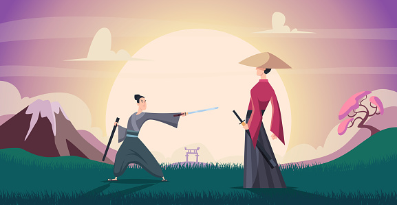 Samurai background. Warriors in action poses asian fighters exact vector illustration in cartoon style