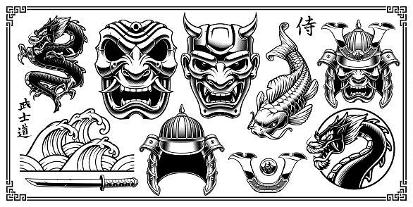 japanese tattoos stock illustrations