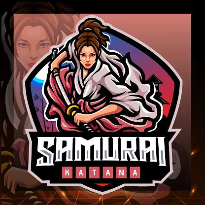 Samurai girls mascot. esport logo design