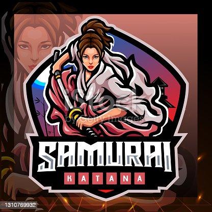istock Samurai girls mascot. esport logo design 1310769932