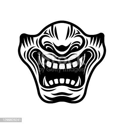 Samurai half mask vector illustration in monochrome style isolated on white