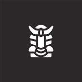 samurai icon. Filled samurai icon for website design and mobile, app development. samurai icon from filled martial arts collection isolated on black background.