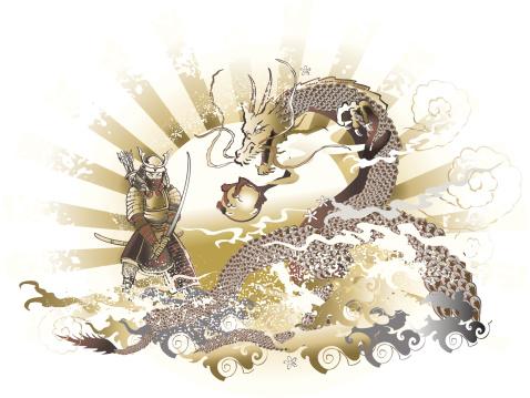 samurai in armor and japanese dragon grunge sketch