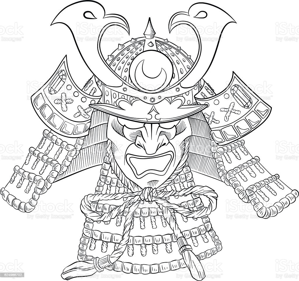Samurai Japan Mask vector art illustration