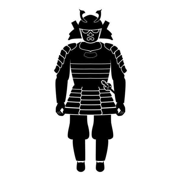 samurai japan warrior icon black color fill - old man mask stock illustrations, clip art, cartoons, & icons