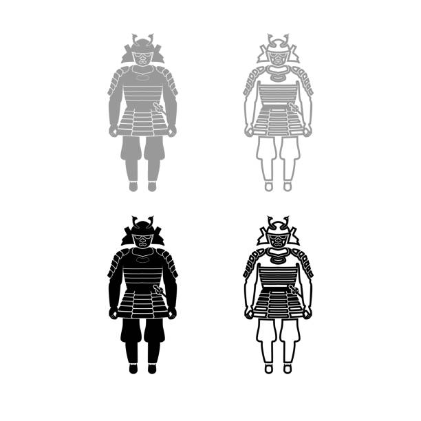 samurai japan warrior iconset grey black color illustration - old man mask stock illustrations