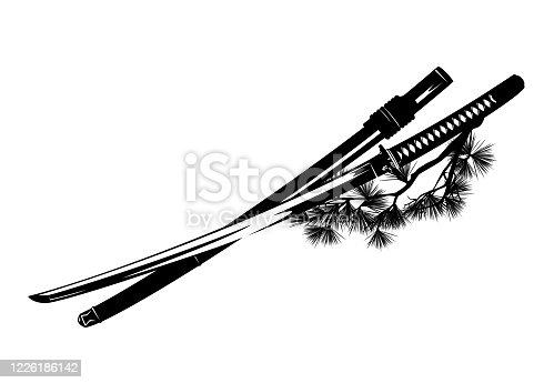 istock samurai katana sword with scabbard and pine tree branch black and white vector outline 1226186142