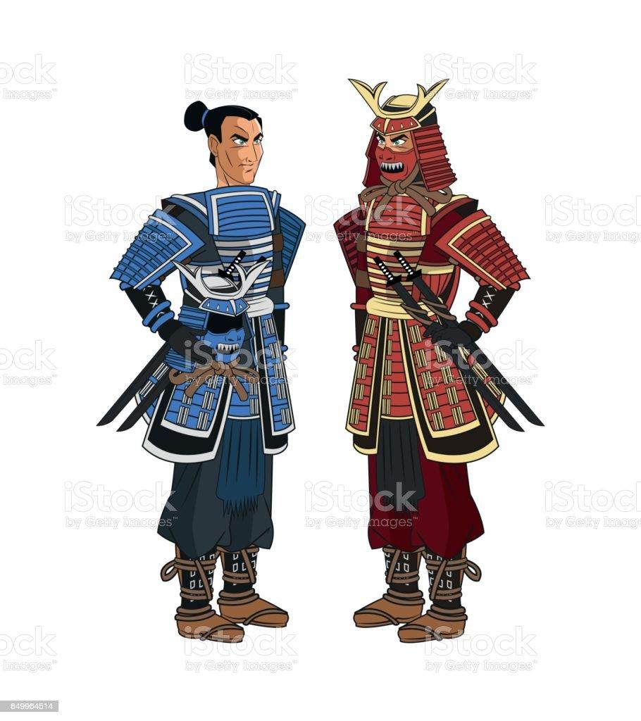 Ilustracion De Diseno De Dibujos Animados Hombre Samurai Y Mas Vectores Libres De Derechos De Adulto Istock