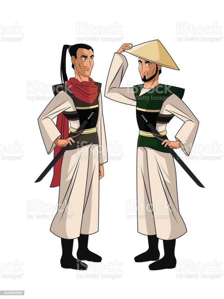 Vetores De Projeto Do Samurai Homem Dos Desenhos Animados E Mais