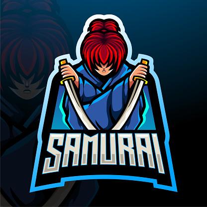 Samurai mascot esport logo design