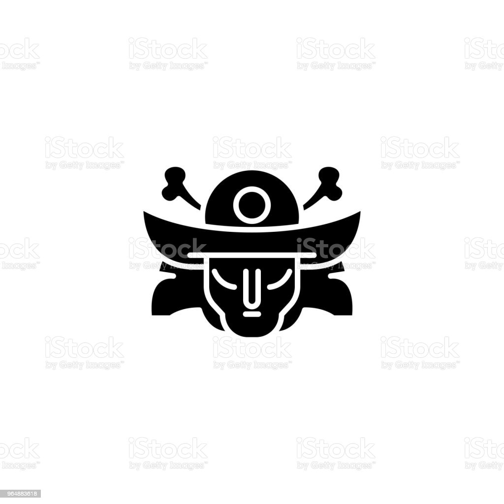 Samurai mask black icon concept. Samurai mask flat  vector symbol, sign, illustration. royalty-free samurai mask black icon concept samurai mask flat vector symbol sign illustration stock vector art & more images of adult