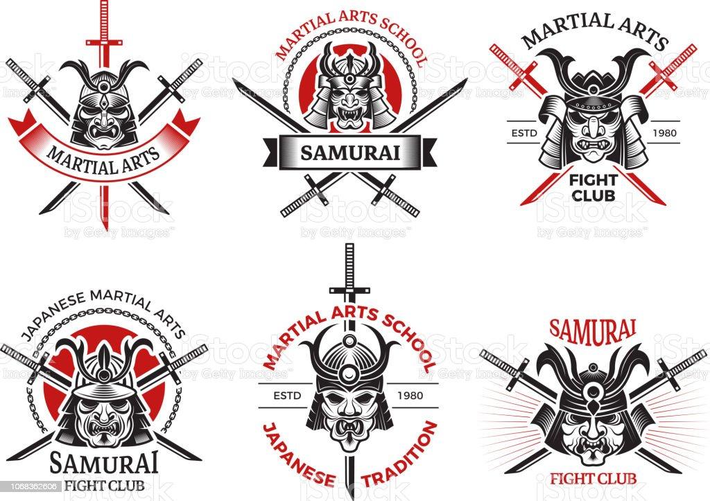 Etiquettes De Masque De Samourai Projets De Conception De Logo De