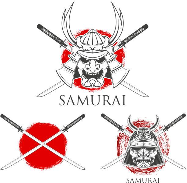 Samouraï masque. Vecteur des éléments de conception - Illustration vectorielle