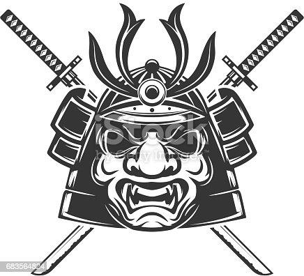 Samurai mask with crossed swords isolated on white background. Design elements for label, emblem, sign, brand mark. Vector illustration.