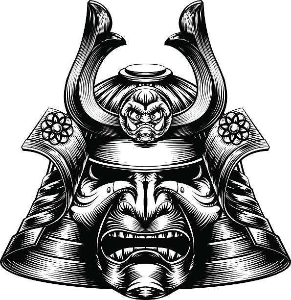 侍マスク木版画のスタイル - マスク 日本人点のイラスト素材/クリップアート素材/マンガ素材/アイコン素材