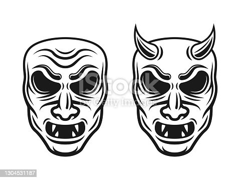 Samurai masks two styles vector illustration with horns and without isolated on white background