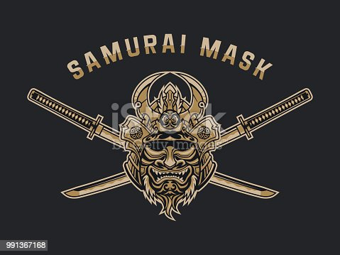 Stylized Japanese samurai monster mask with crossed katanas vector emblem