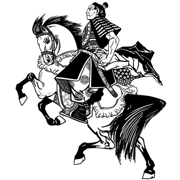 馬に乗った侍黒と白 - 乗馬点のイラスト素材/クリップアート素材/マンガ素材/アイコン素材