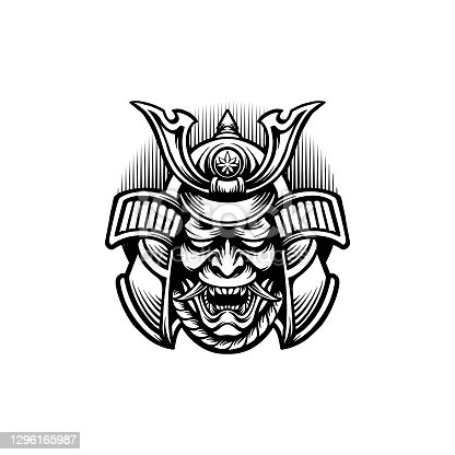 Samurai Oni Mask Japan Silhouette illustrations for your work Logo, mascot merchandise t-shirt, stickers and Label designs, poster, greeting cards advertising business company or brands.